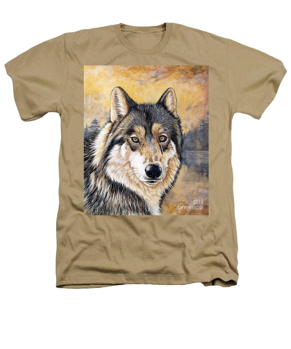 Acrylics Heathers T-Shirt featuring the painting Loki by Sandi Baker