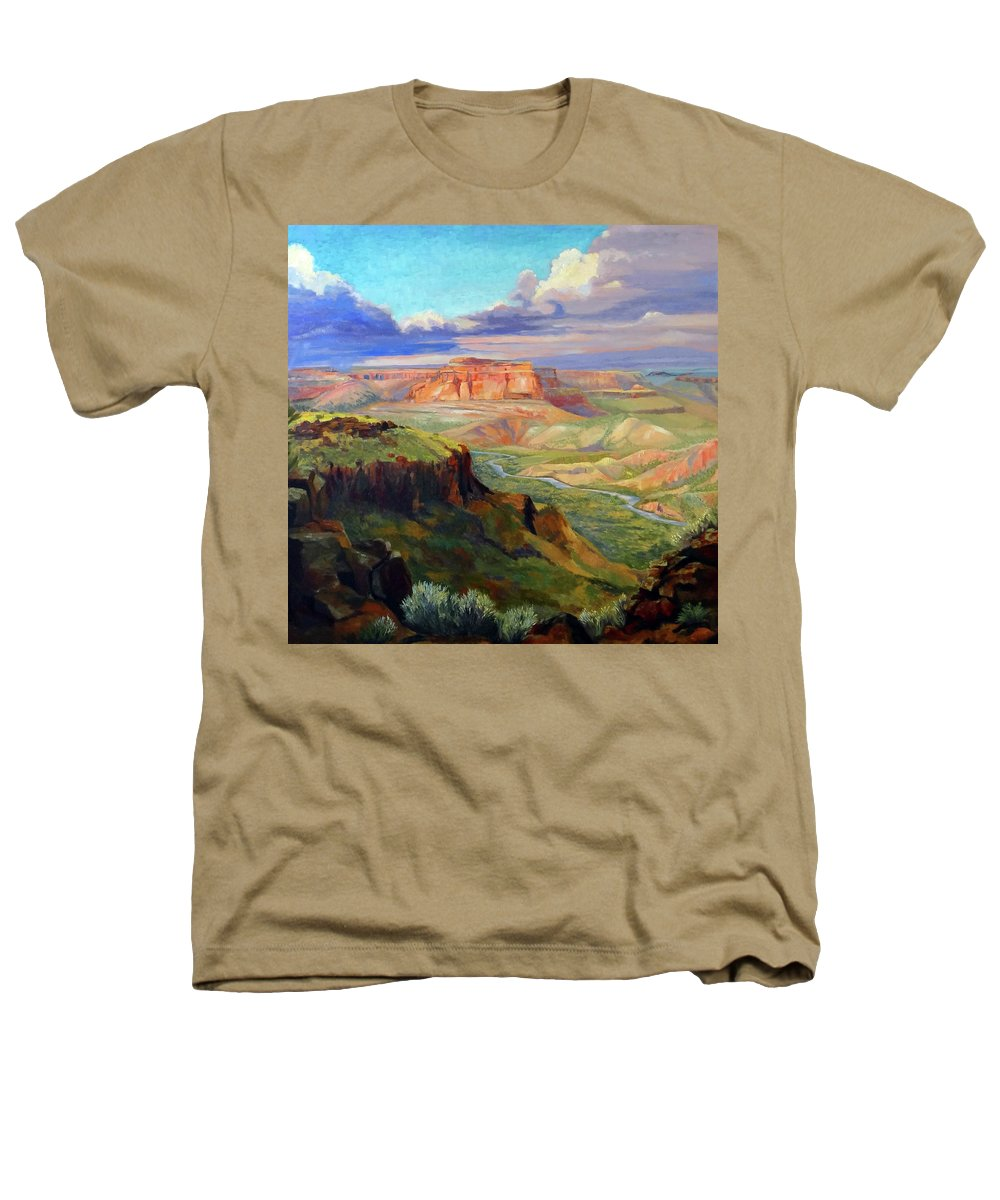 Landscape Heathers T-Shirt featuring the painting Look Out At White Rock by Nancy Paris Pruden