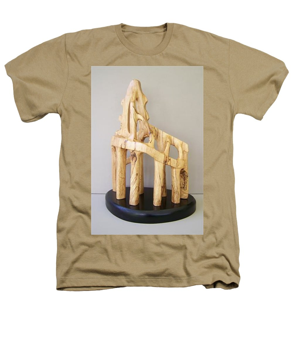 Wood-carving-sculpture-abstract- Heathers T-Shirt featuring the sculpture Lost Glory by Norbert Bauwens