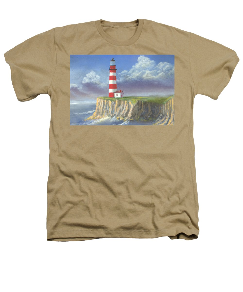 Light Heathers T-Shirt featuring the painting Lost Point Light by Jerry McElroy