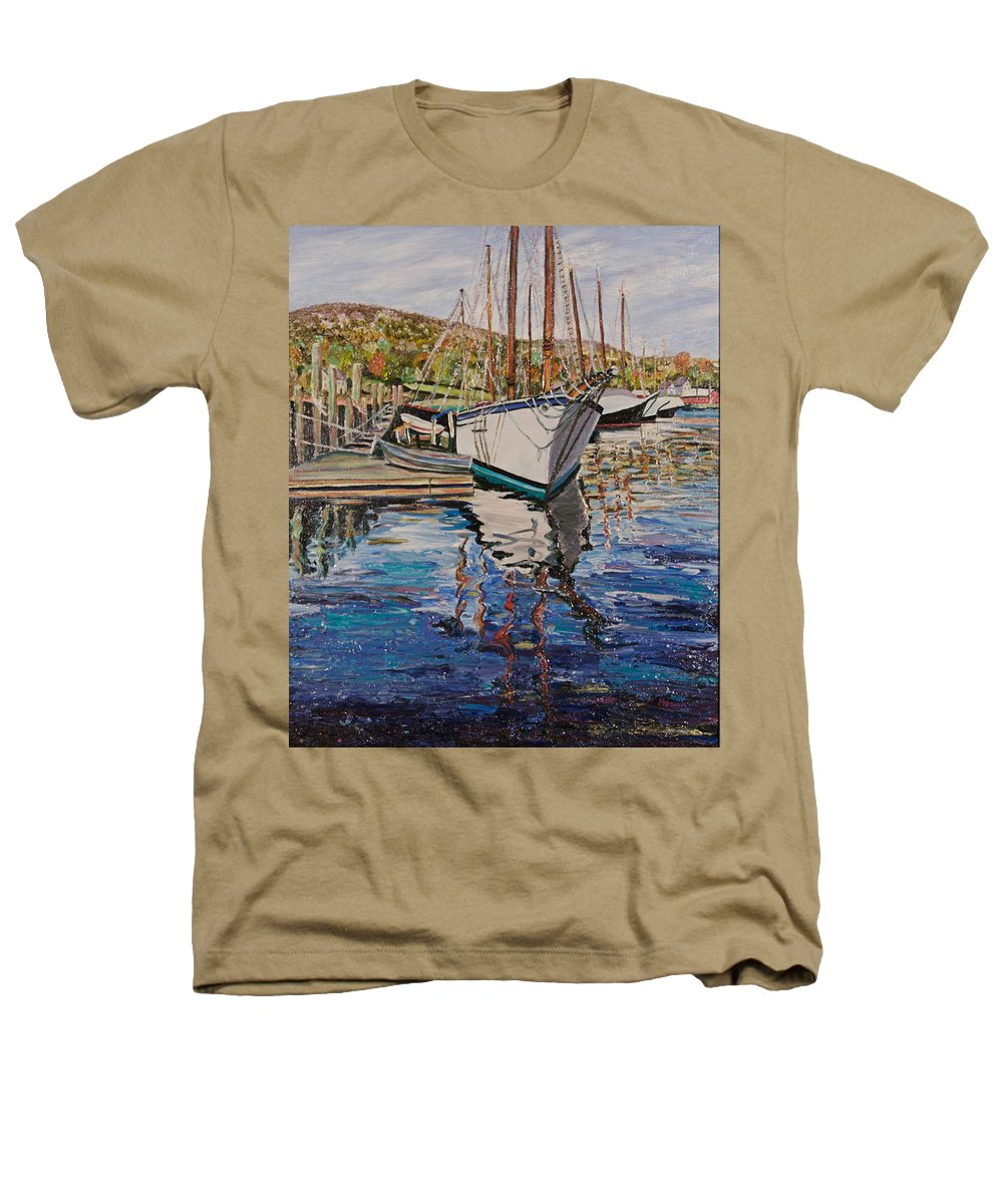 Maine Heathers T-Shirt featuring the painting Maine Coast Boat Reflections by Richard Nowak