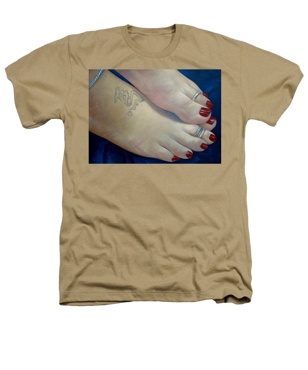 Toes Heathers T-Shirt featuring the painting Mandys Toes by Jerrold Carton