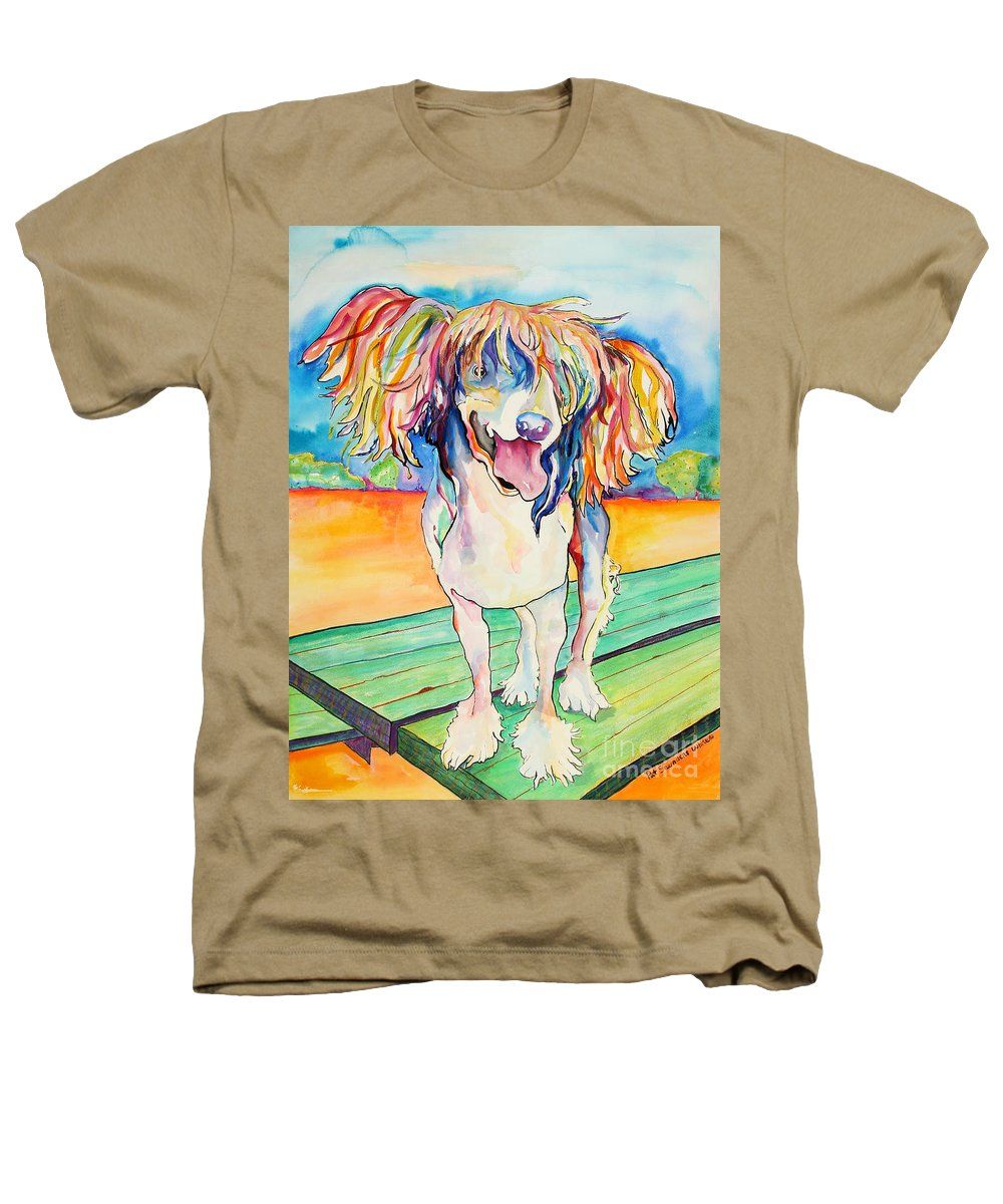 Chinese Crested Heathers T-Shirt featuring the painting Mango Salsa by Pat Saunders-White