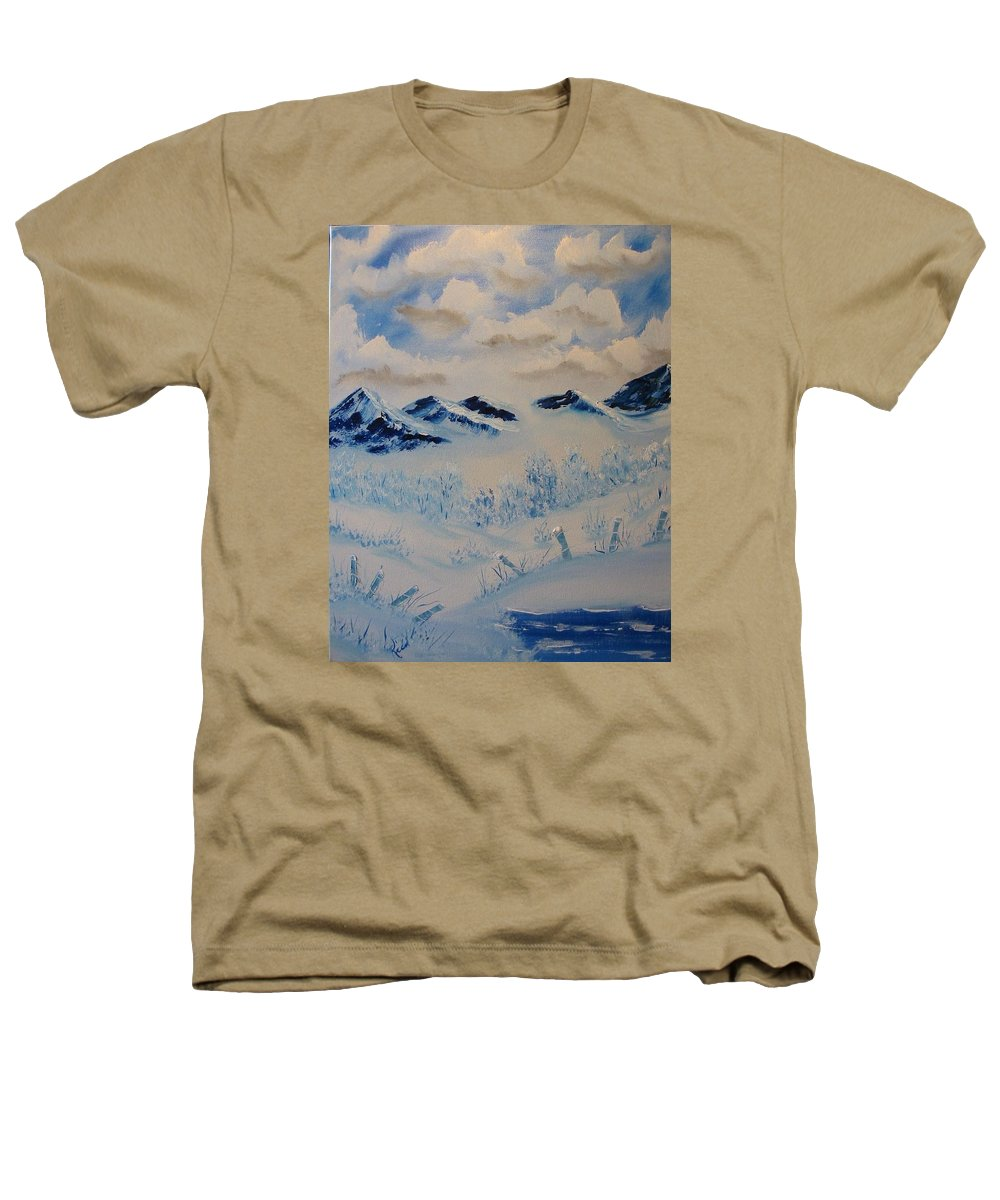 Blue Heathers T-Shirt featuring the painting Many Valleys by Laurie Kidd