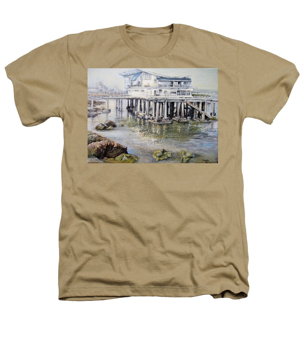 Maritim Heathers T-Shirt featuring the painting Maritim Club Castro Urdiales by Tomas Castano