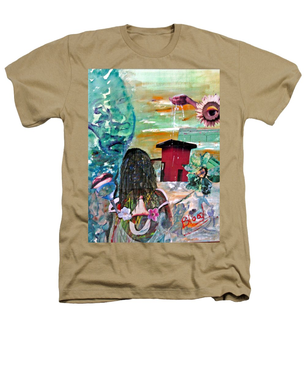 Water Heathers T-Shirt featuring the painting Masks Of Life by Peggy Blood