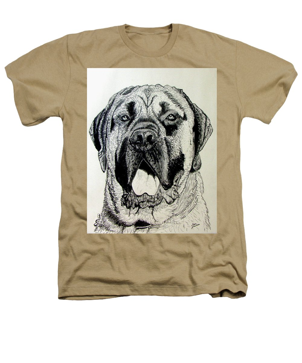 Mastiff Heathers T-Shirt featuring the drawing Mastiff by Stan Hamilton