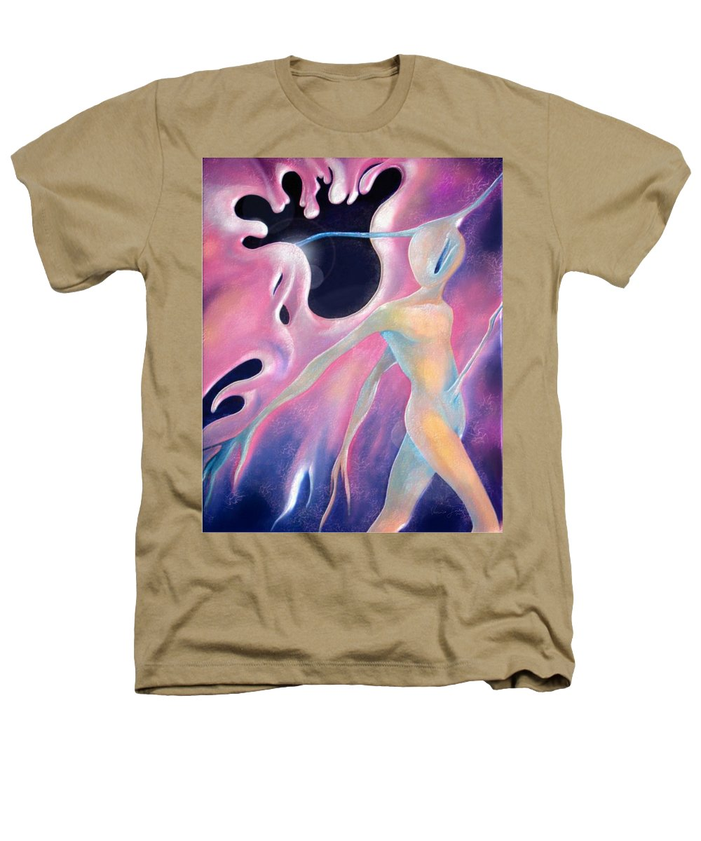 Aura Surreal Afterlife Alien Soul Journey Heathers T-Shirt featuring the painting Melting Aura by Veronica Jackson