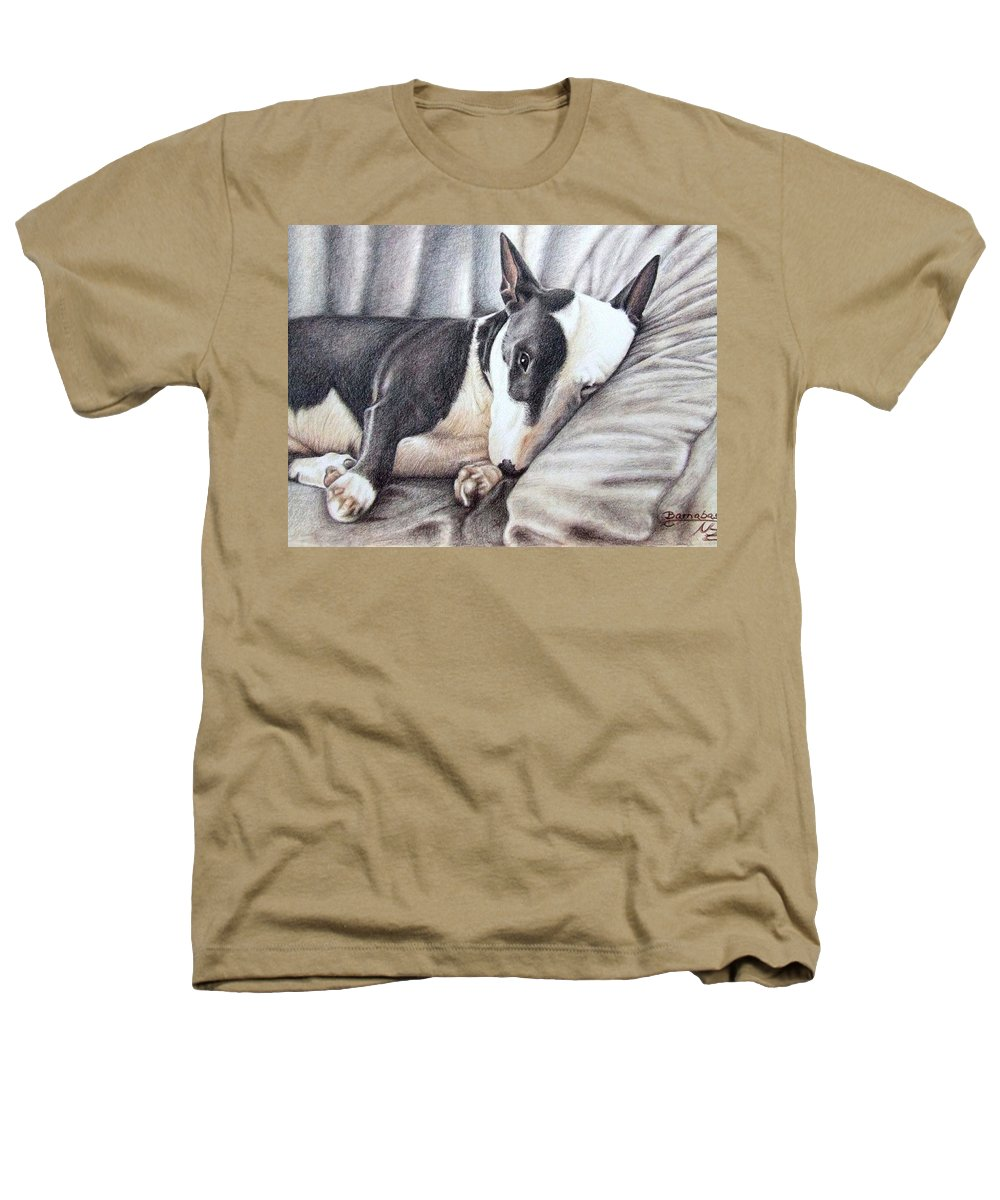 Dog Heathers T-Shirt featuring the drawing Mini Bulldog Terrier by Nicole Zeug