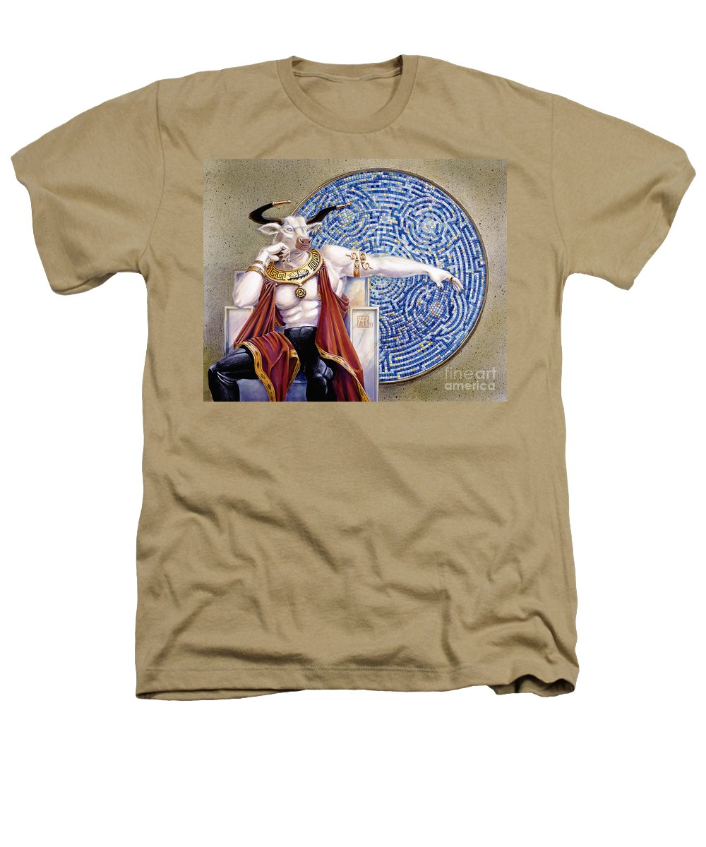 Anthropomorphic Heathers T-Shirt featuring the painting Minotaur With Mosaic by Melissa A Benson