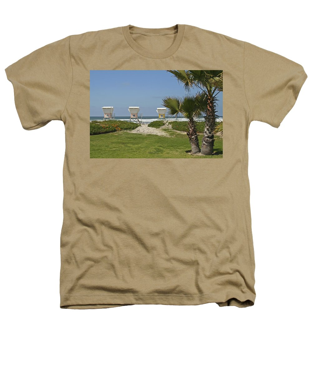 Beach Heathers T-Shirt featuring the photograph Mission Beach Shelters by Margie Wildblood