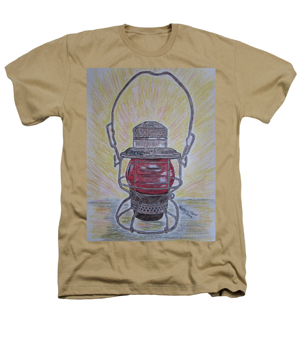 Monon Heathers T-Shirt featuring the painting Monon Red Globe Railroad Lantern by Kathy Marrs Chandler