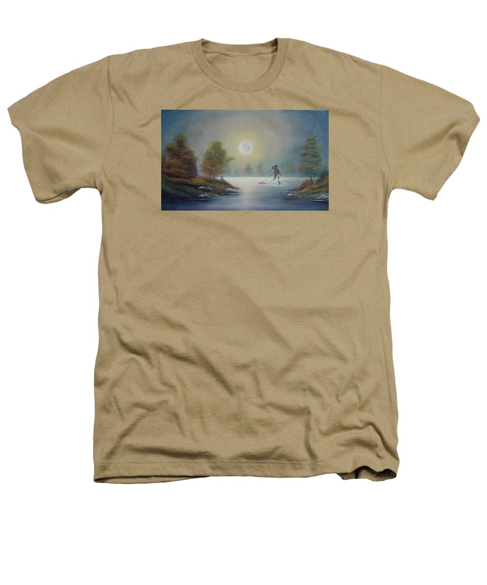 Landscape Heathers T-Shirt featuring the painting Monstruo Ness by Angel Ortiz