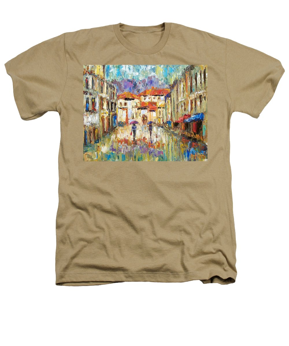 Landscape Heathers T-Shirt featuring the painting Morning Rain by Debra Hurd