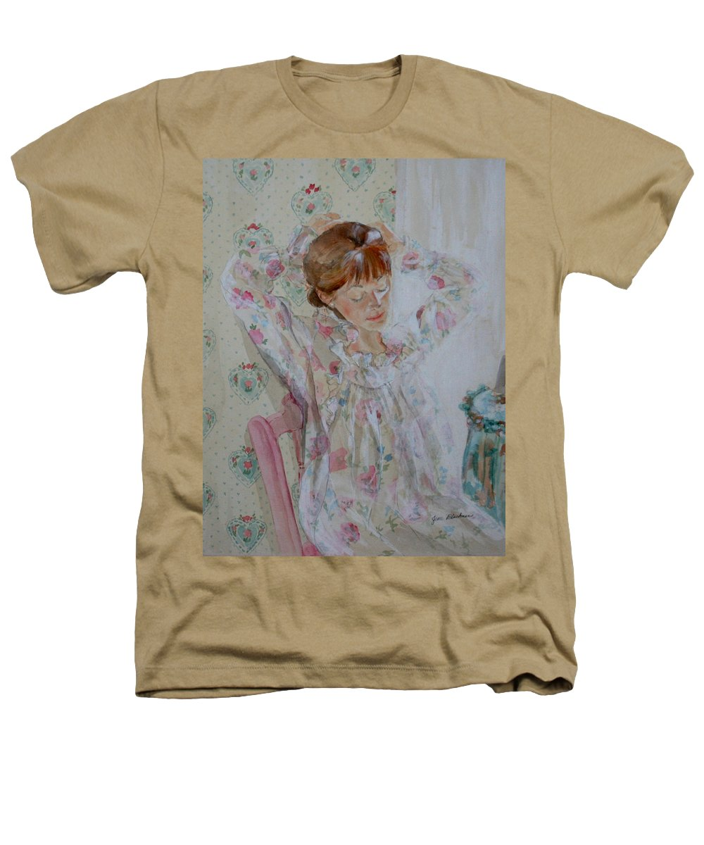 Morning Heathers T-Shirt featuring the painting Morning Ritual by Jean Blackmer