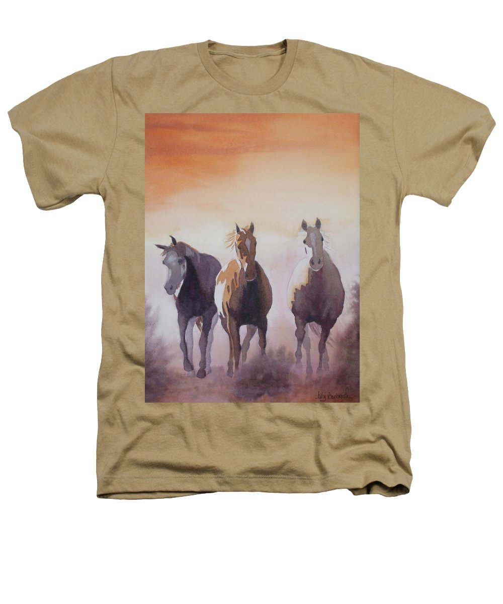 Horse Heathers T-Shirt featuring the painting Mustangs Out Of The Fire by Ally Benbrook