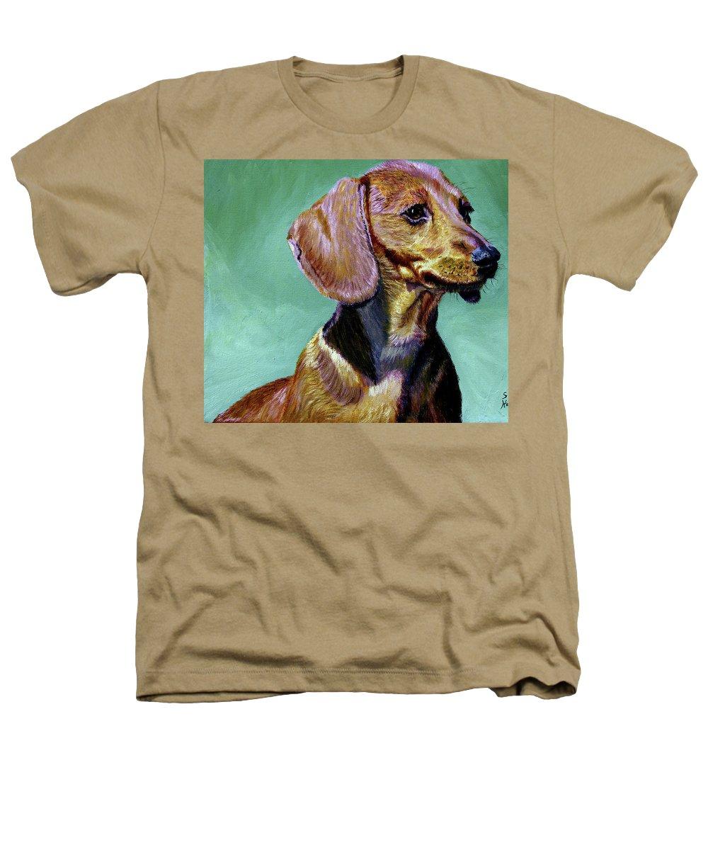 Daschund Heathers T-Shirt featuring the painting My Daschund by Stan Hamilton