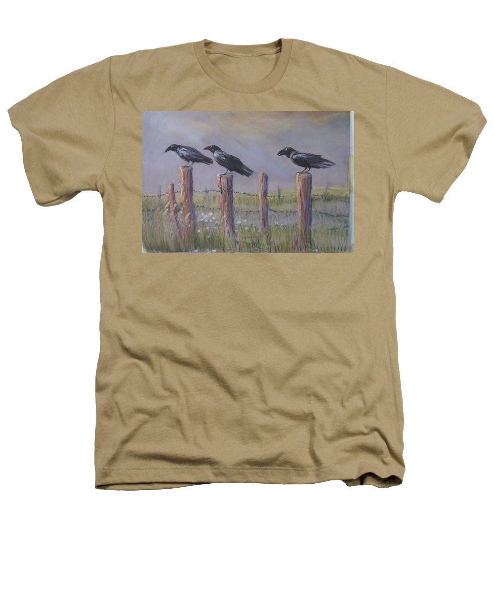 Crows Heathers T-Shirt featuring the painting Neighborhood Watch by Heather Coen