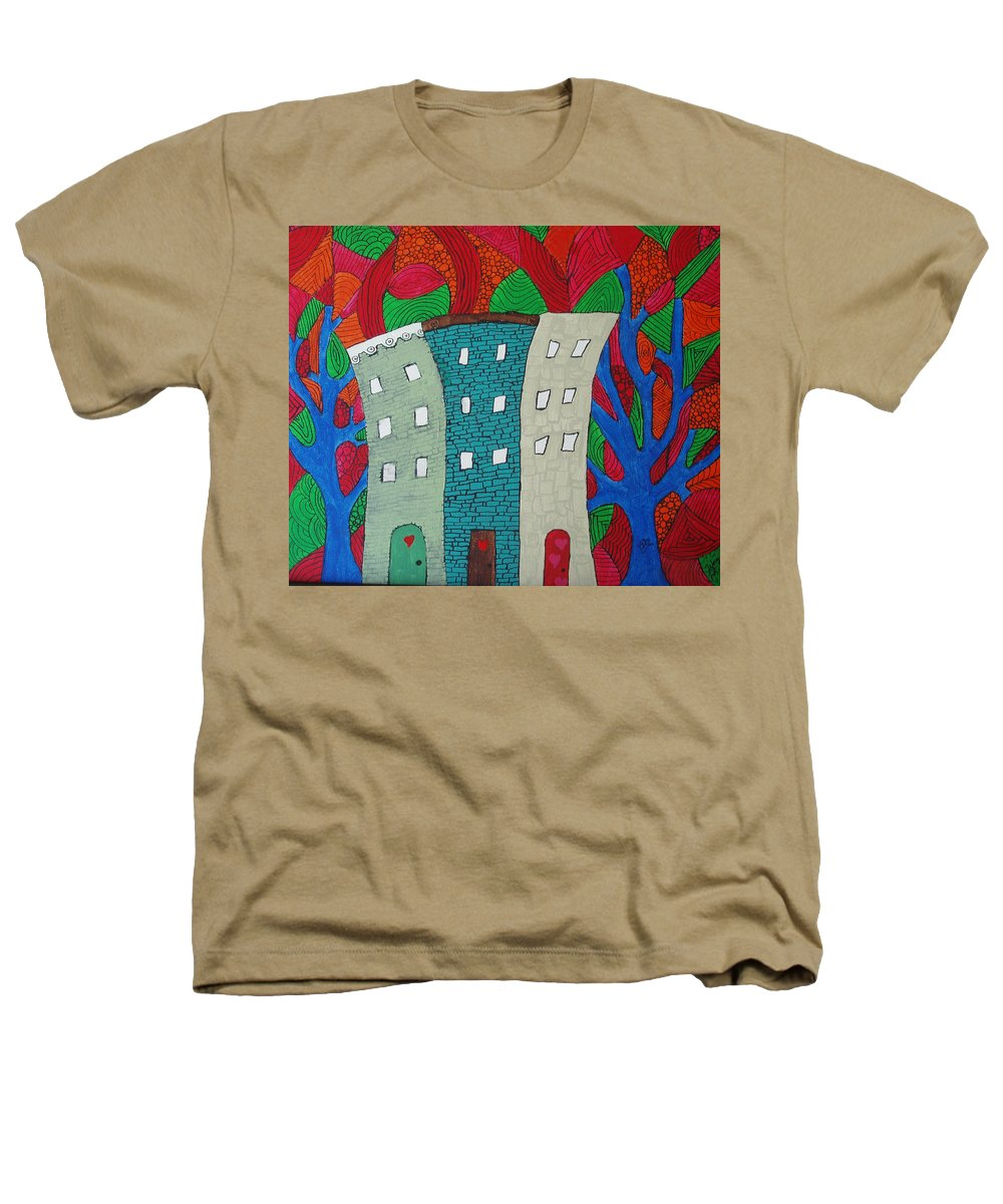 Houses Heathers T-Shirt featuring the painting Neighbors by Wayne Potrafka