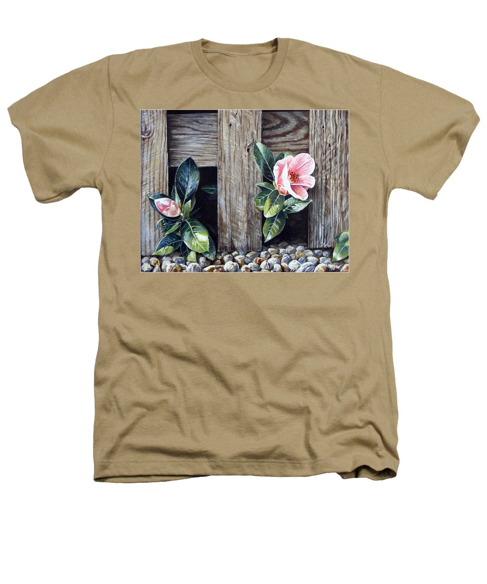 Flower Pink Acrylics Neighbours Fence Wood Leaves Heathers T-Shirt featuring the painting Neighbours by Arie Van der Wijst