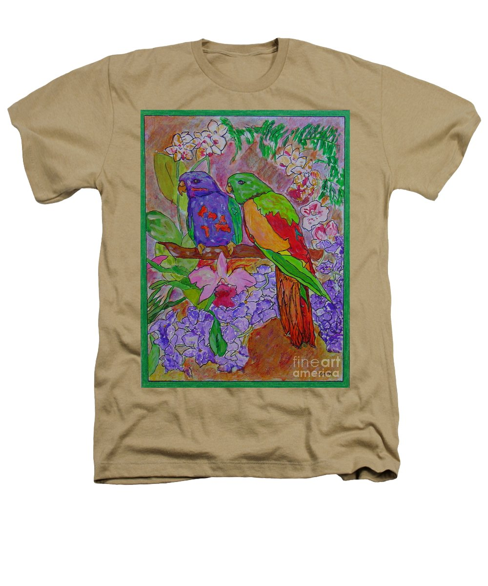 Tropical Pair Birds Parrots Original Illustration Leilaatkinson Heathers T-Shirt featuring the painting Nesting by Leila Atkinson