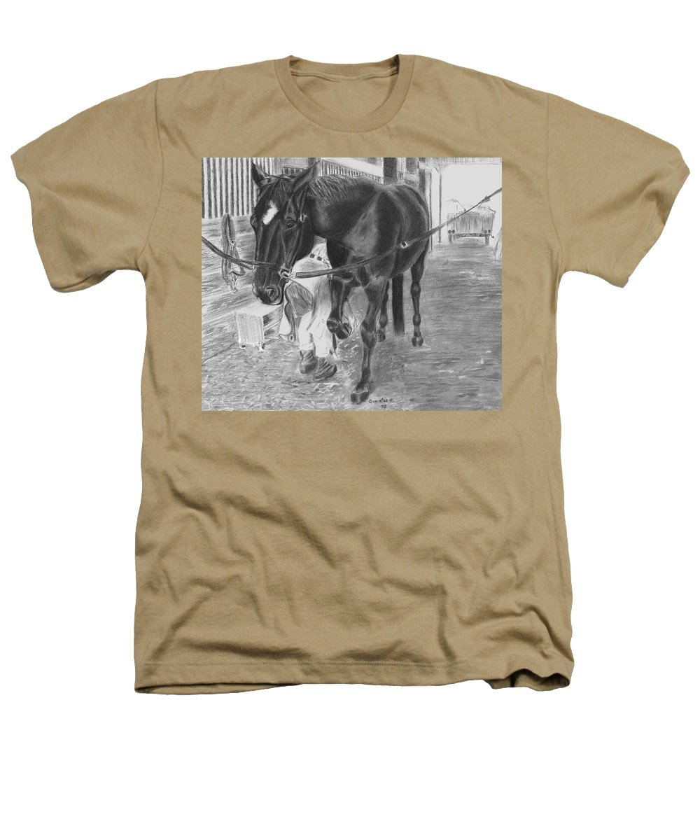 Horse Heathers T-Shirt featuring the drawing New Shoes by Quwatha Valentine