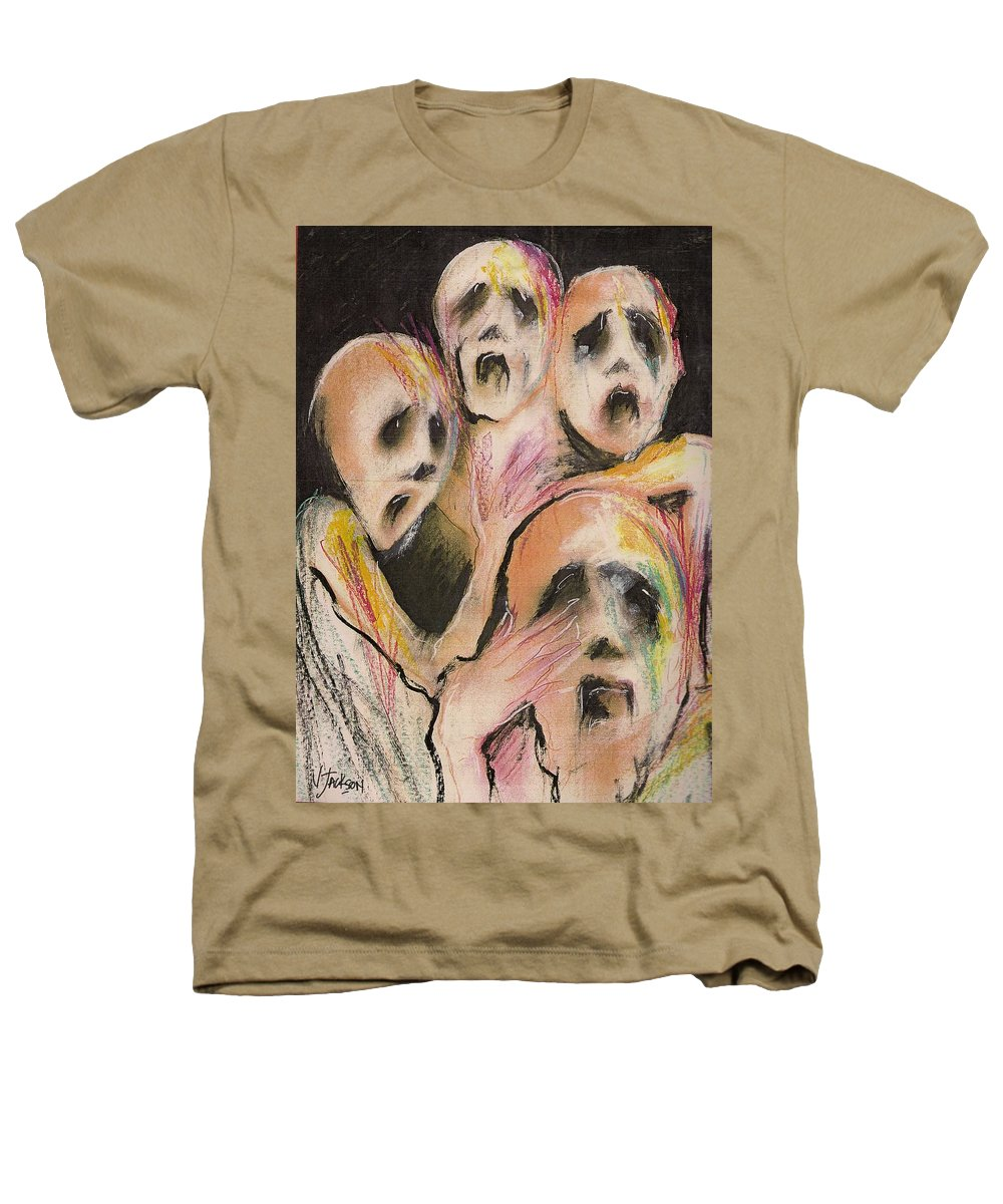 War Cry Tears Horror Fear Darkness Heathers T-Shirt featuring the mixed media No Words by Veronica Jackson