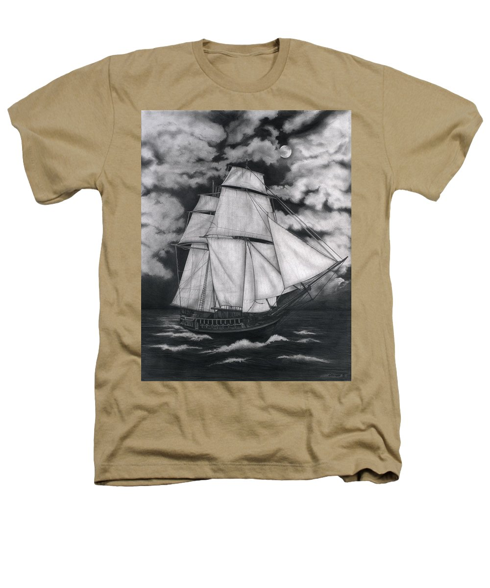 Ship Sailing Into The Northern Winds Heathers T-Shirt featuring the drawing Northern Winds by Larry Lehman