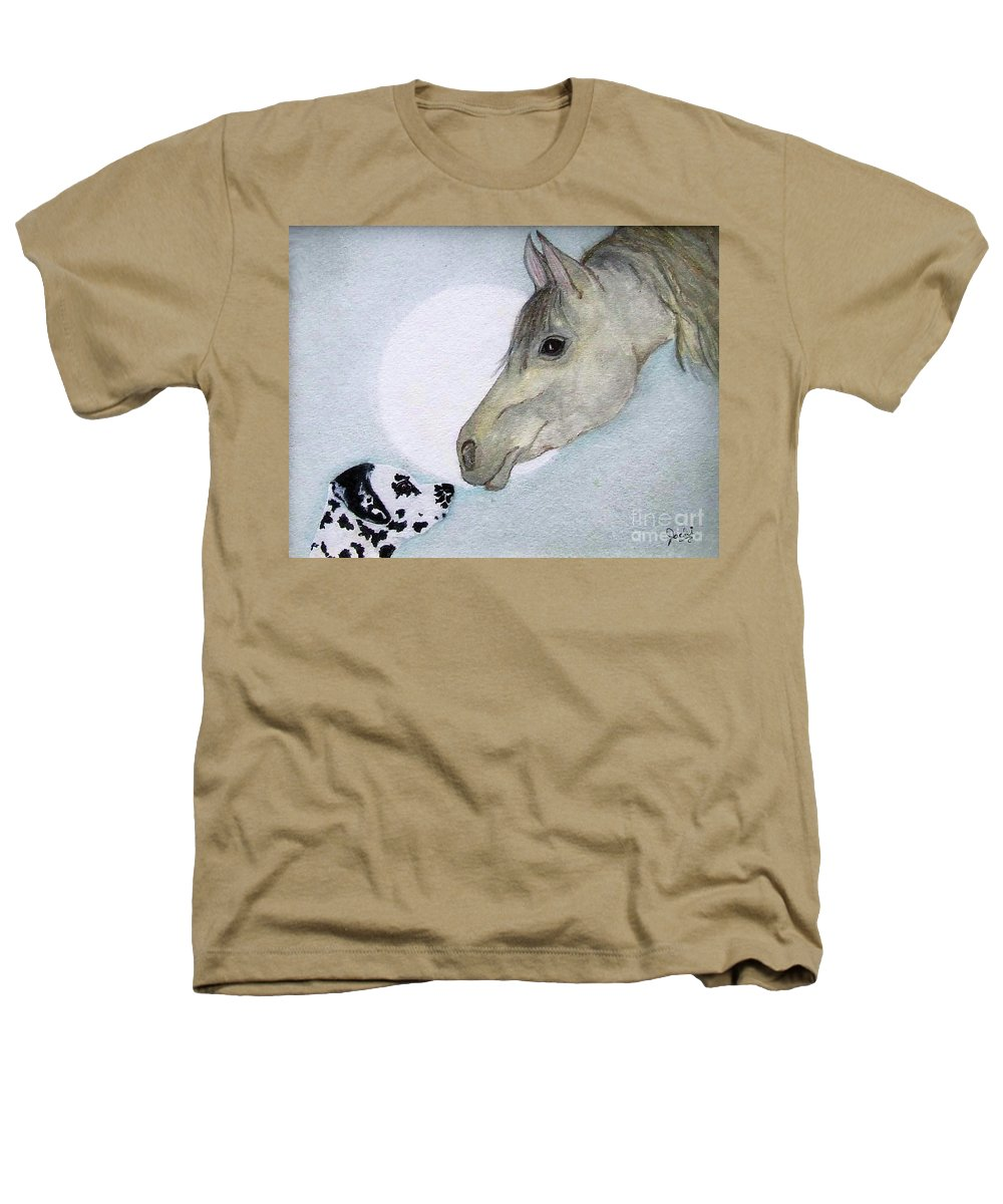 Dog Heathers T-Shirt featuring the painting Nose 2 Nose by Jacki McGovern