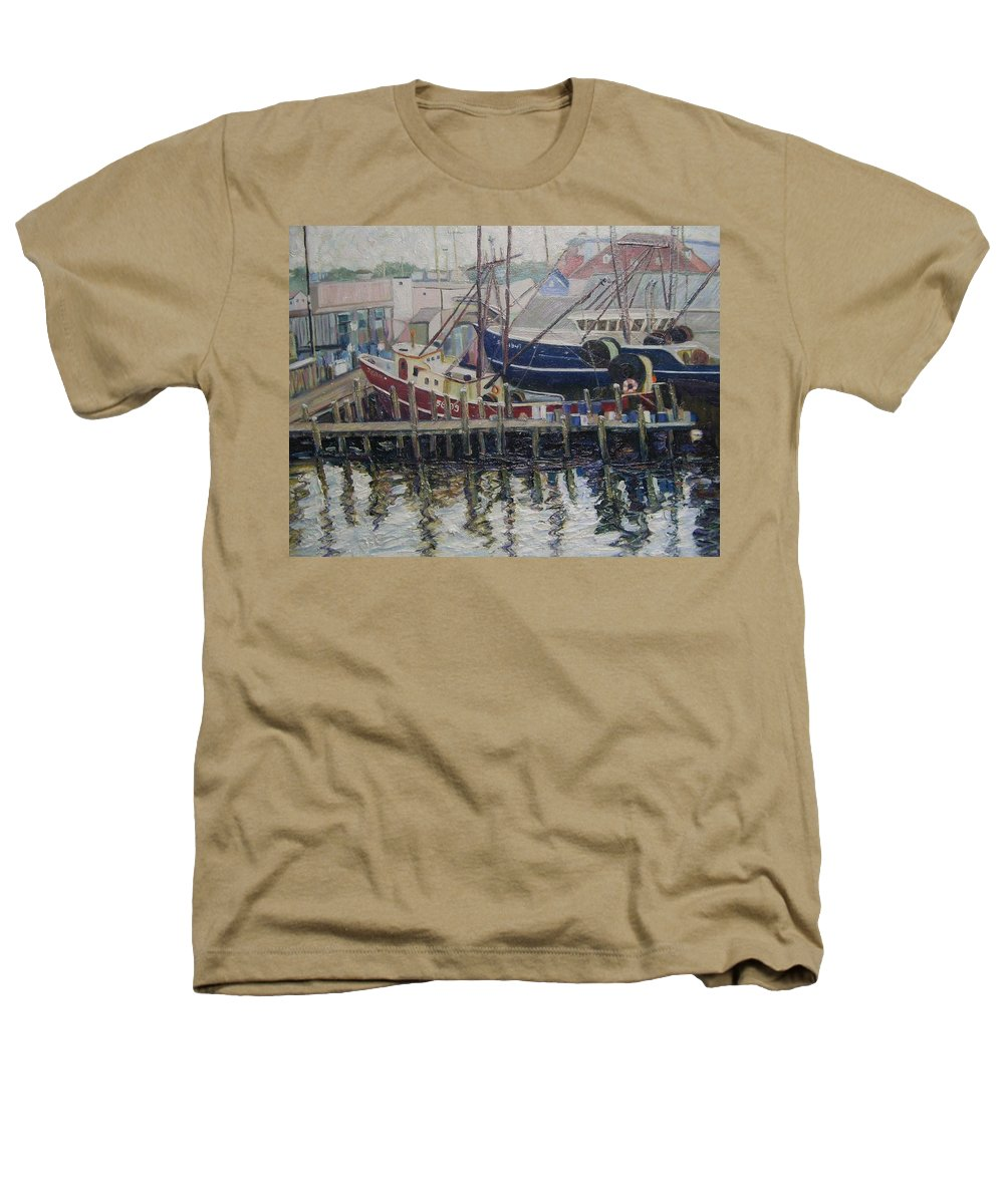 Boats Heathers T-Shirt featuring the painting Nova Scotia Boats At Rest by Richard Nowak