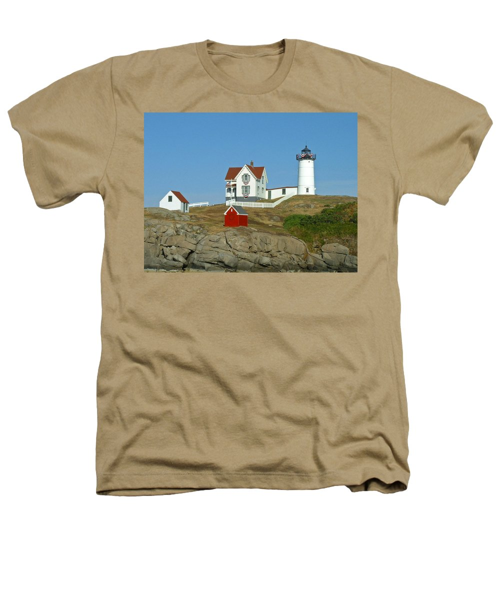 Nubble Heathers T-Shirt featuring the photograph Nubble Light by Margie Wildblood