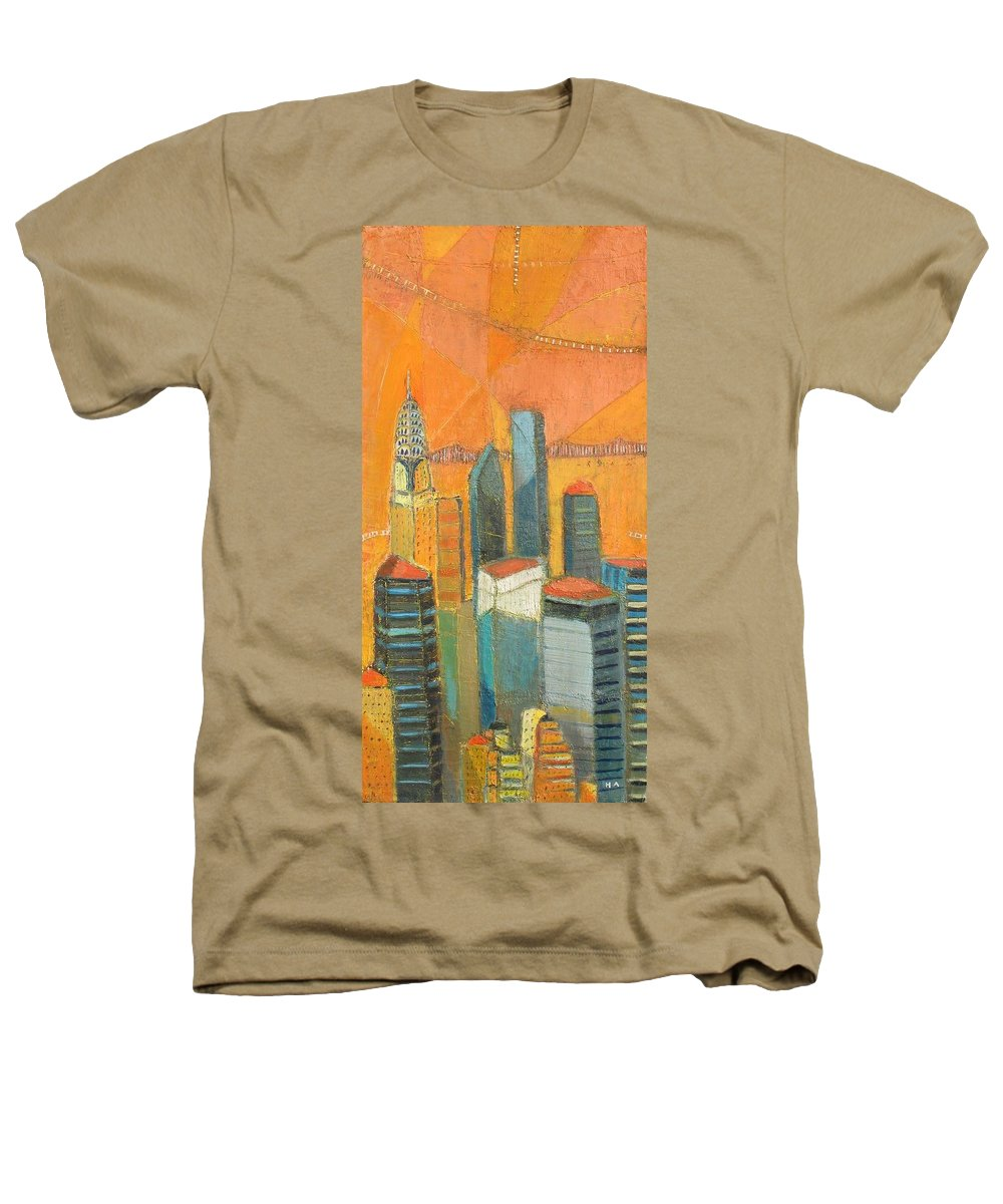 Heathers T-Shirt featuring the painting Nyc In Orange by Habib Ayat
