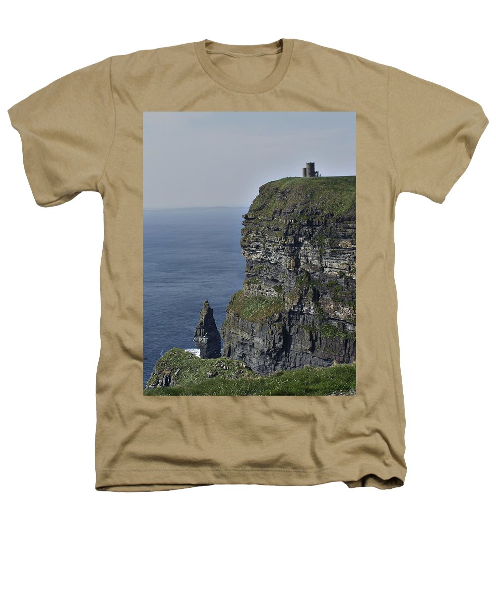 Irish Heathers T-Shirt featuring the photograph O Brien's Tower At The Cliffs Of Moher Ireland by Teresa Mucha