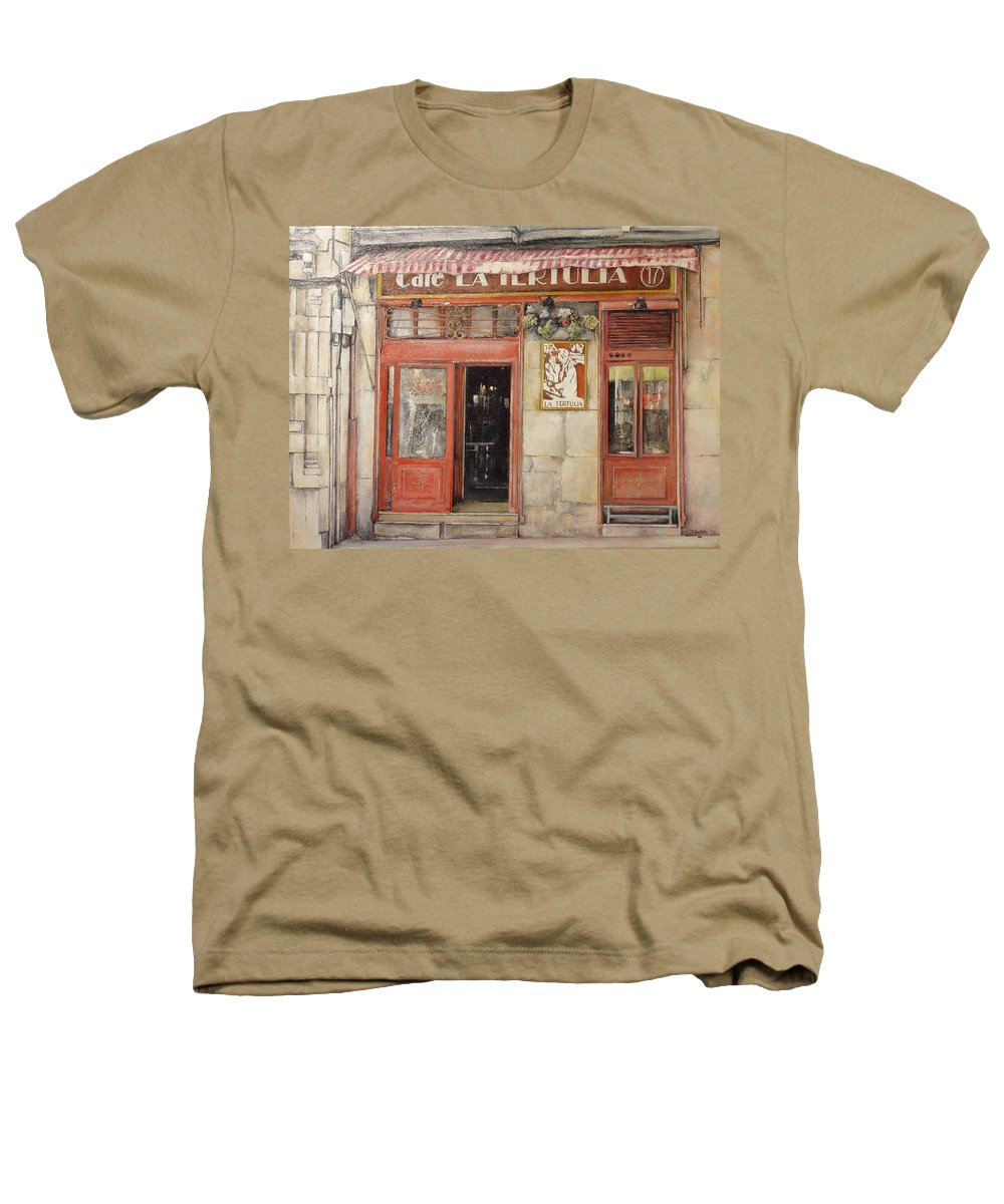Cafe Heathers T-Shirt featuring the painting Old Cafe- Santander Spain by Tomas Castano