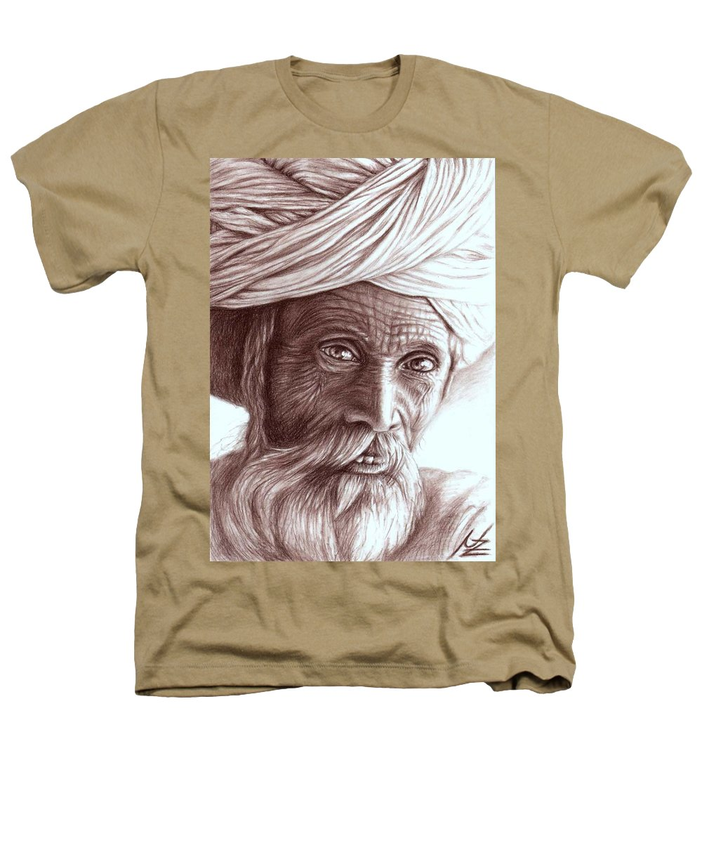 Man Heathers T-Shirt featuring the drawing Old Indian Man by Nicole Zeug