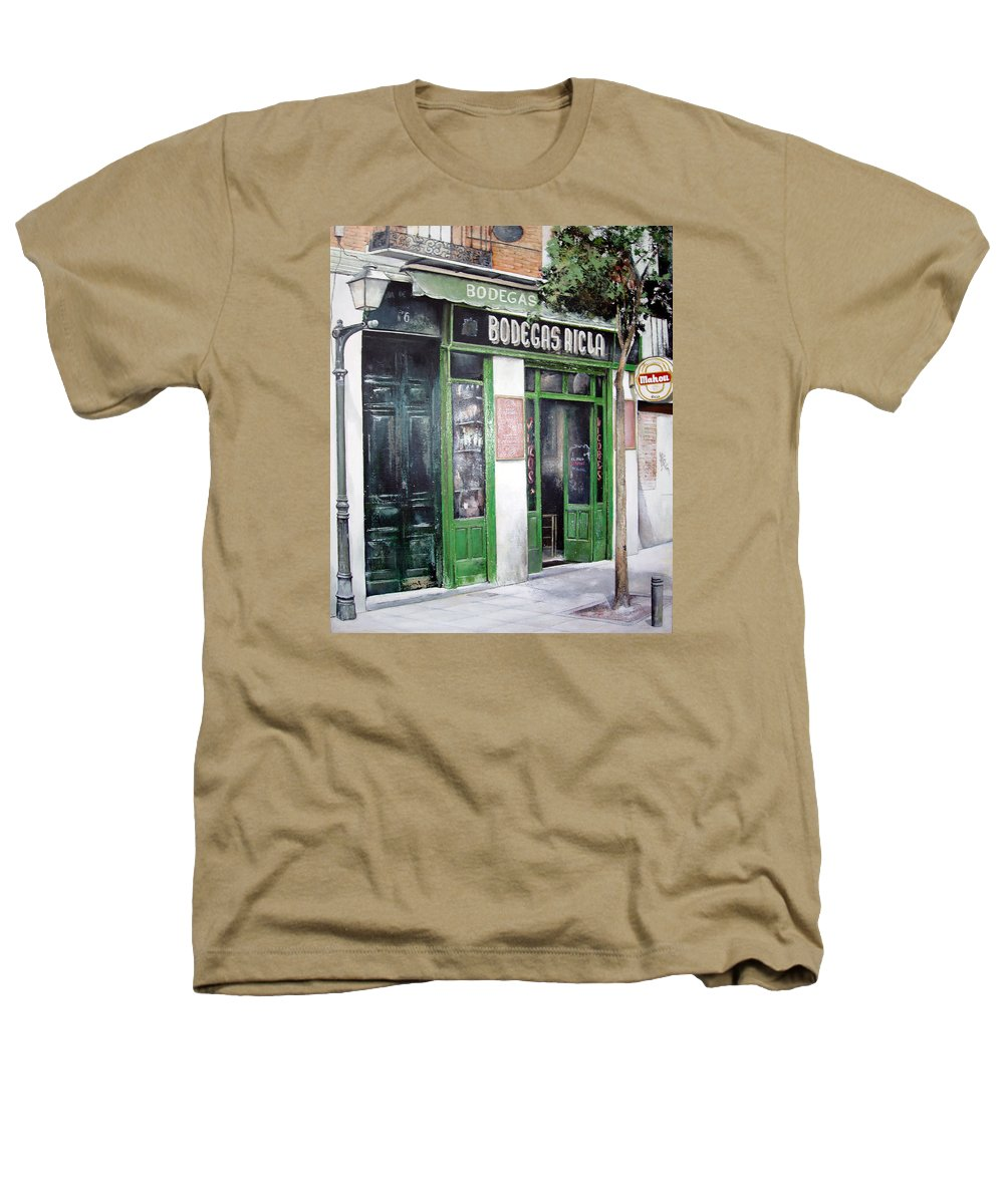 Bodegas Heathers T-Shirt featuring the painting Old Tavern-madrid by Tomas Castano