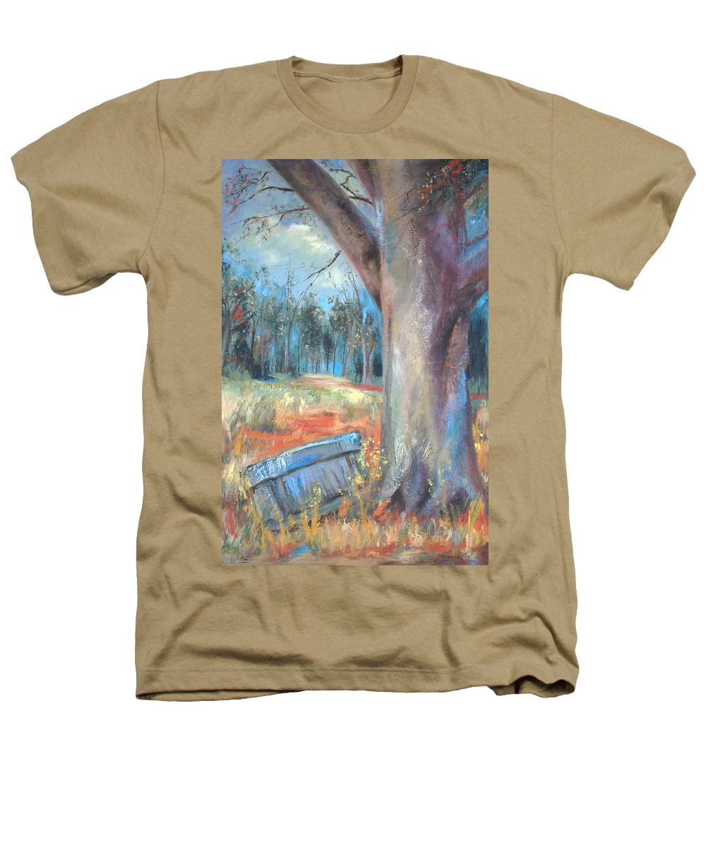 Country Scenes Heathers T-Shirt featuring the painting Old Times by Ginger Concepcion