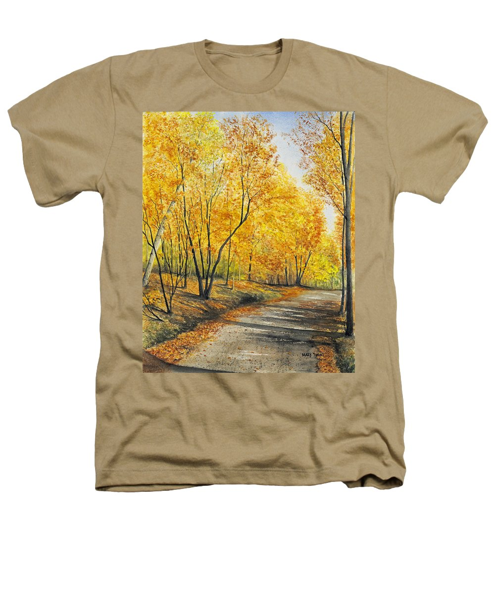 Autumn Heathers T-Shirt featuring the painting On Golden Road by Mary Tuomi