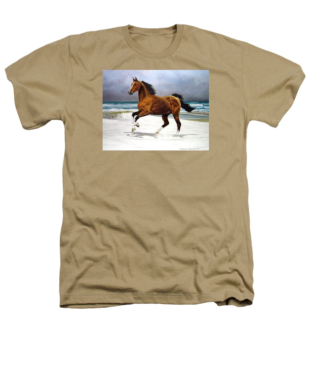 Horse Heathers T-Shirt featuring the painting On The Beach by Marc Stewart