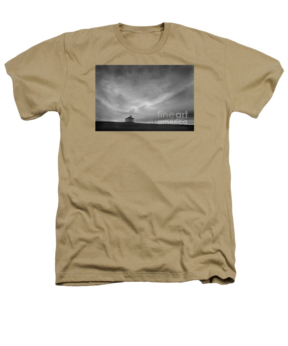 Landscape Heathers T-Shirt featuring the photograph One Room Schoolhouse by Michael Ziegler