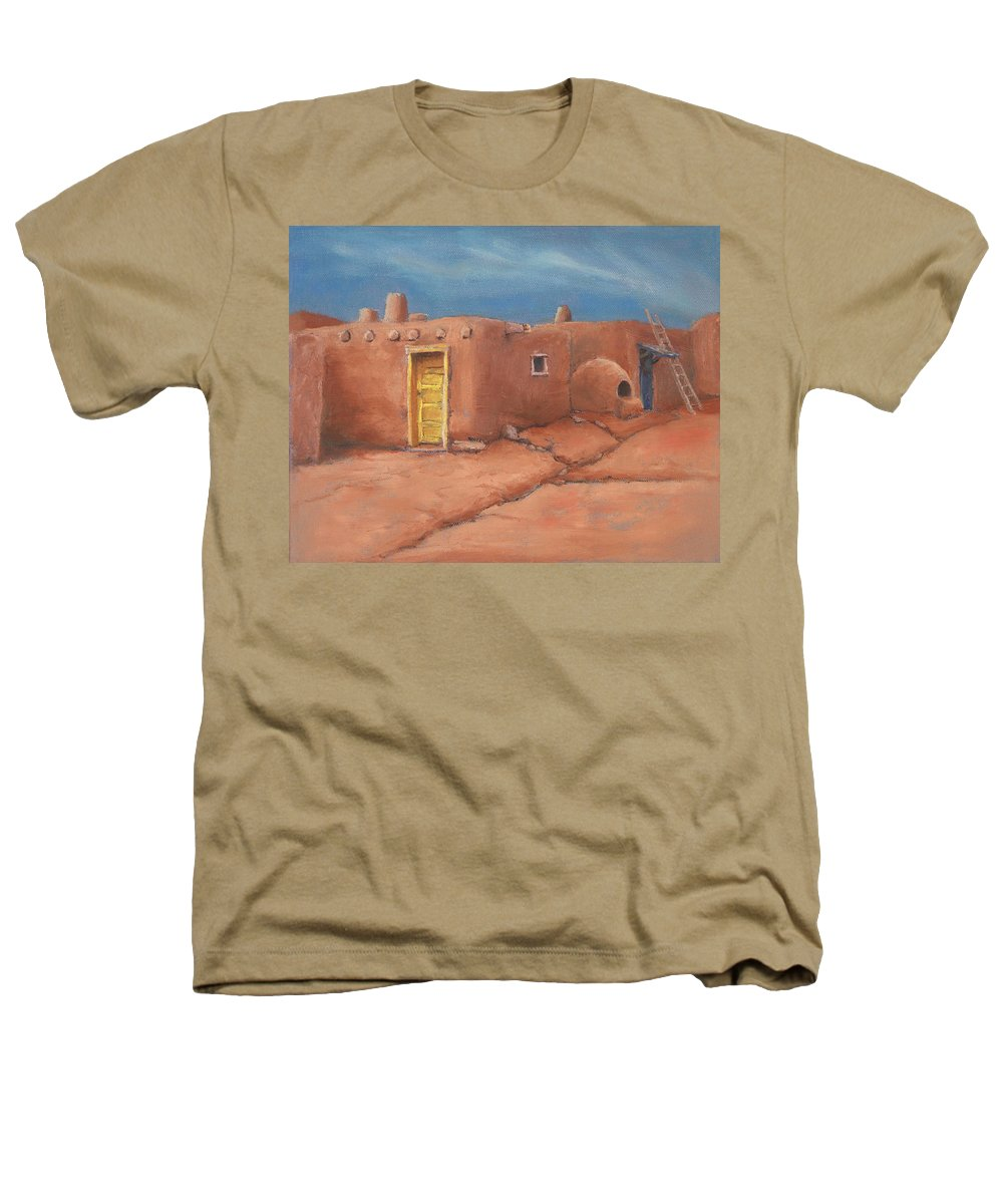 Taos Heathers T-Shirt featuring the painting One Yellow Door by Jerry McElroy
