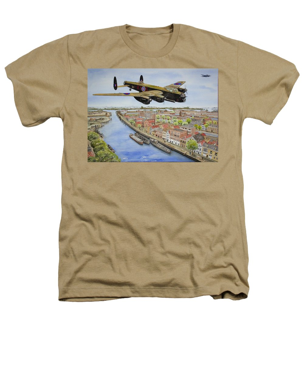 Lancaster Bomber Heathers T-Shirt featuring the painting Operation Manna II by Gale Cochran-Smith