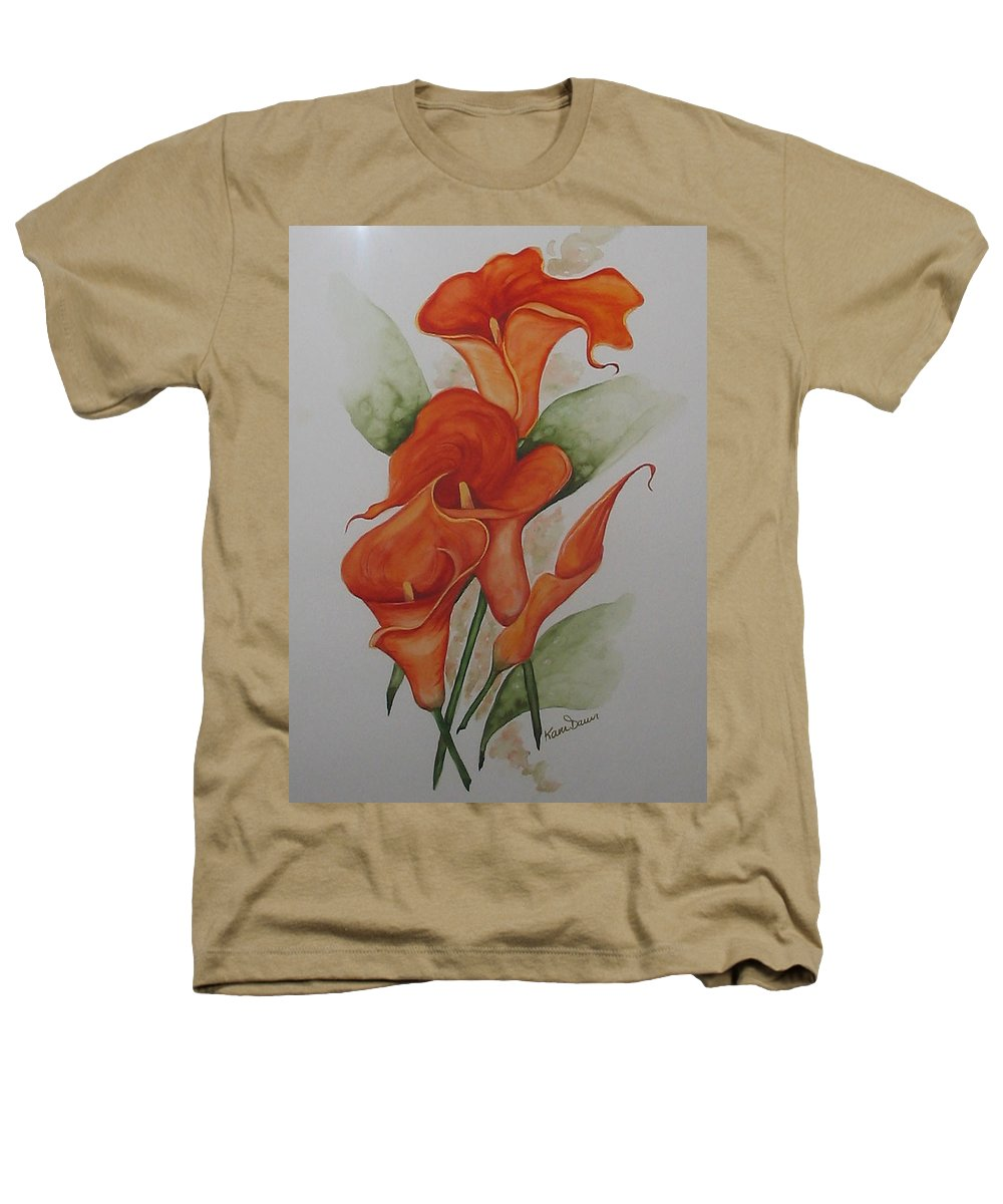 Floral Orange Lily Heathers T-Shirt featuring the painting Orange Callas by Karin Dawn Kelshall- Best