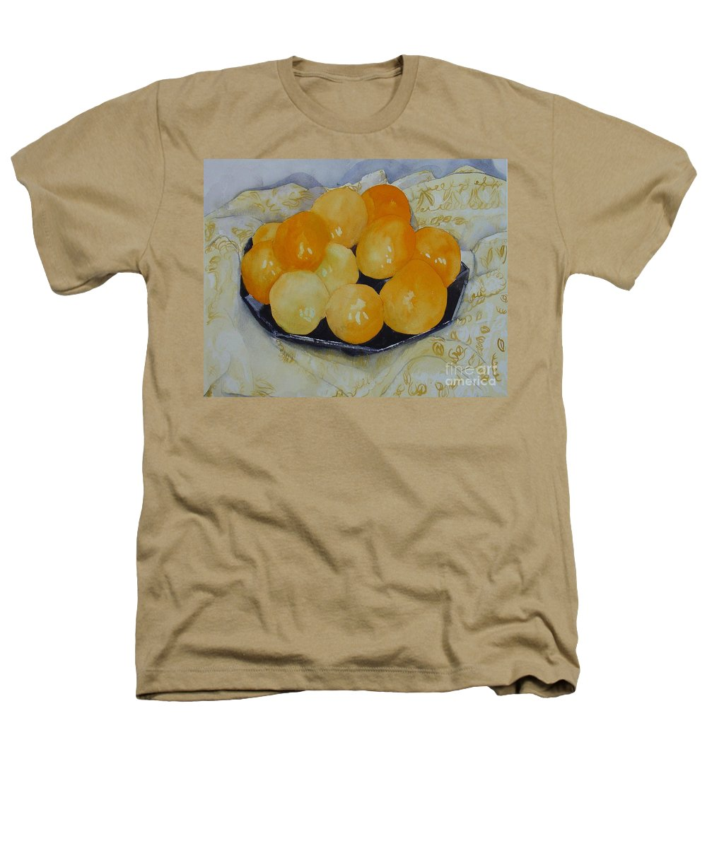 Still Life Watercolor Original Leilaatkinson Oranges Heathers T-Shirt featuring the painting Oranges by Leila Atkinson