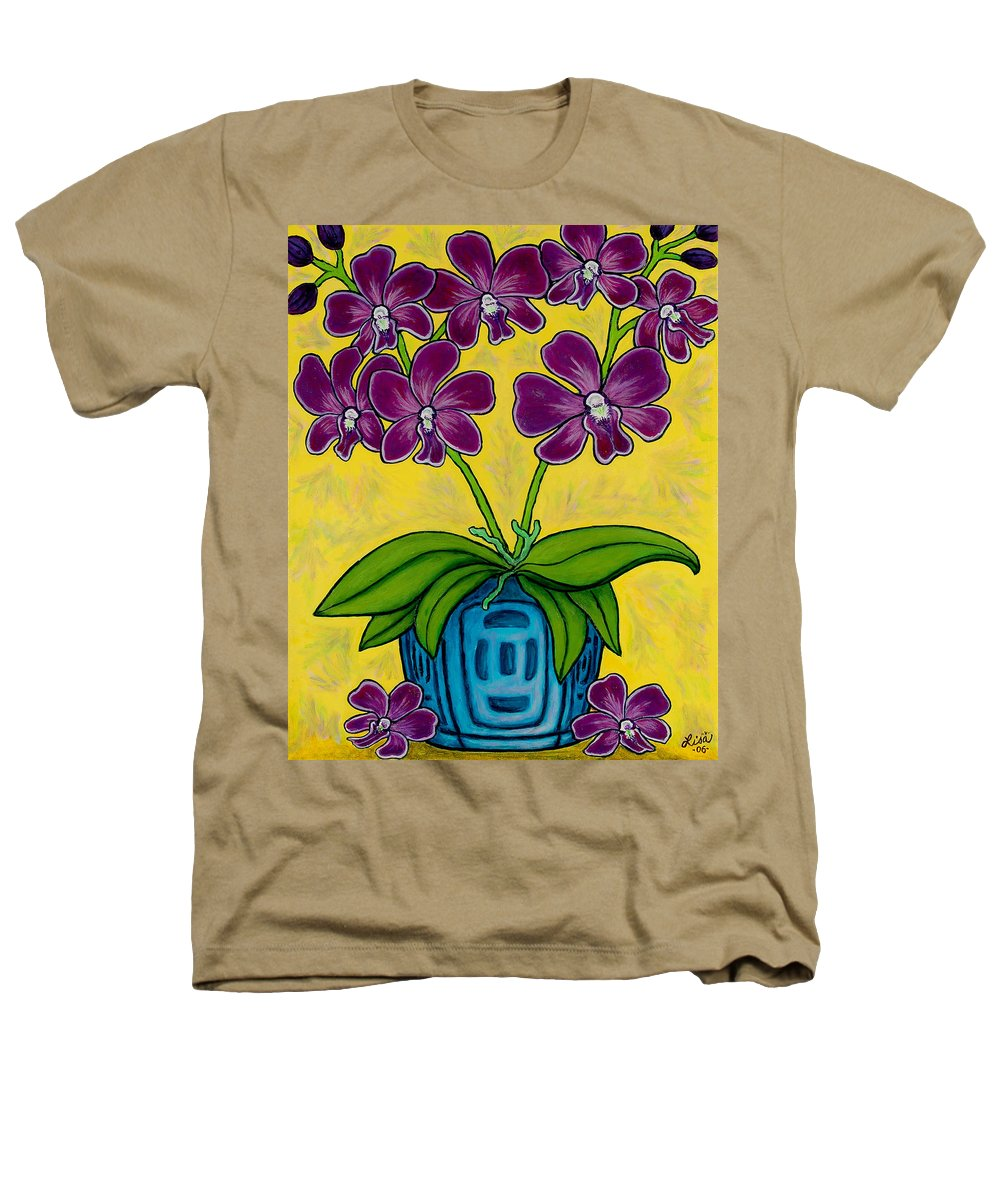 Orchids Heathers T-Shirt featuring the painting Orchid Delight by Lisa Lorenz