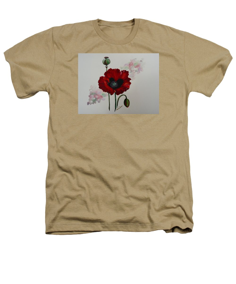 Floral Poppy Red Flower Heathers T-Shirt featuring the painting Oriental Poppy by Karin Dawn Kelshall- Best