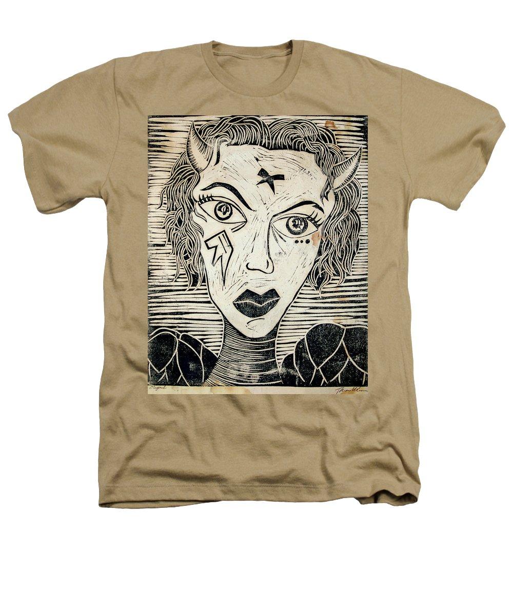 Block Print Heathers T-Shirt featuring the print Original Devil Block Print by Thomas Valentine