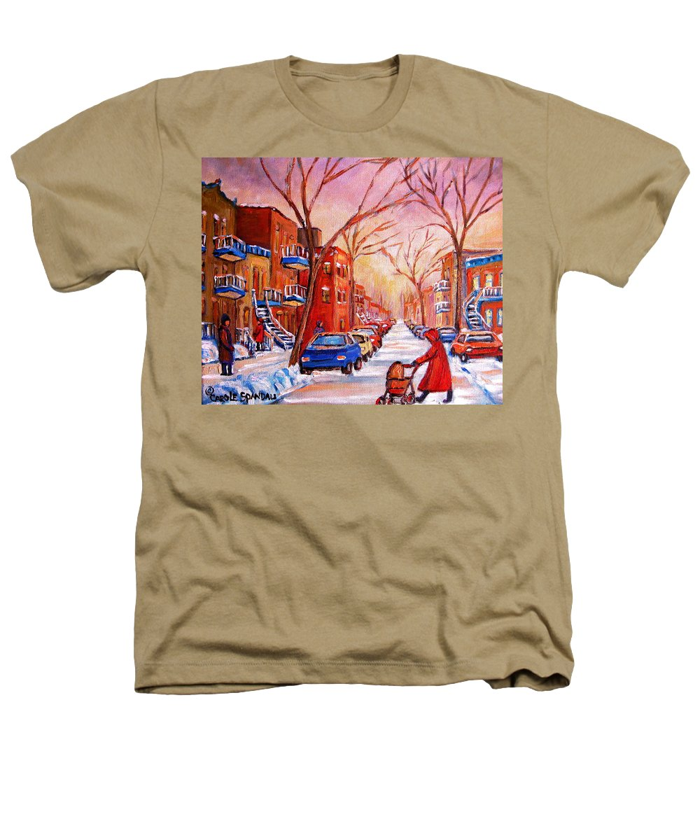 Montreal Heathers T-Shirt featuring the painting Out For A Walk With Mom by Carole Spandau