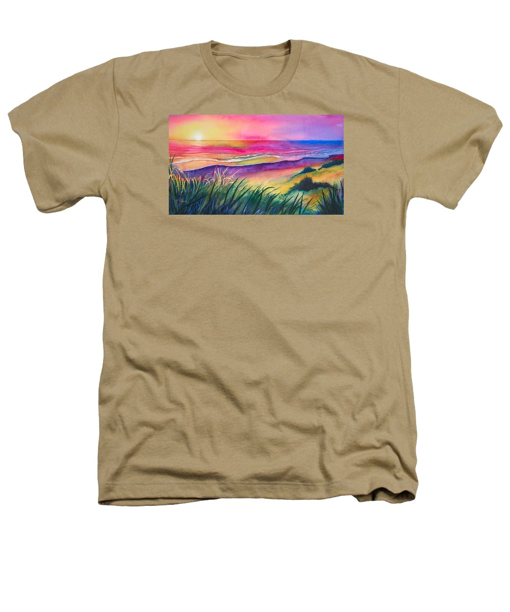 Pacific Heathers T-Shirt featuring the painting Pacific Evening by Karen Stark