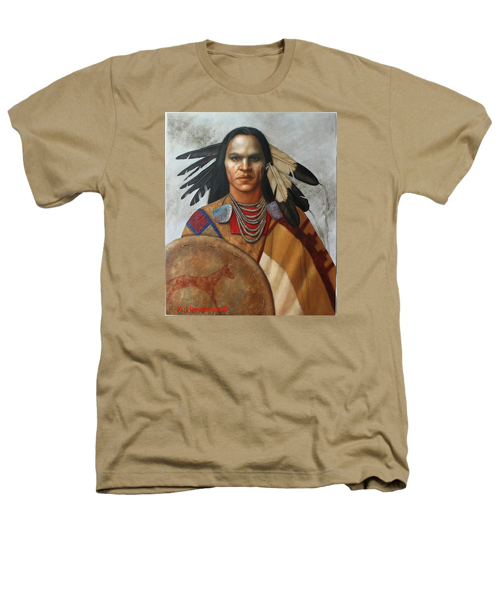 American Indian Heathers T-Shirt featuring the painting Pale Rider By K Henderson by K Henderson